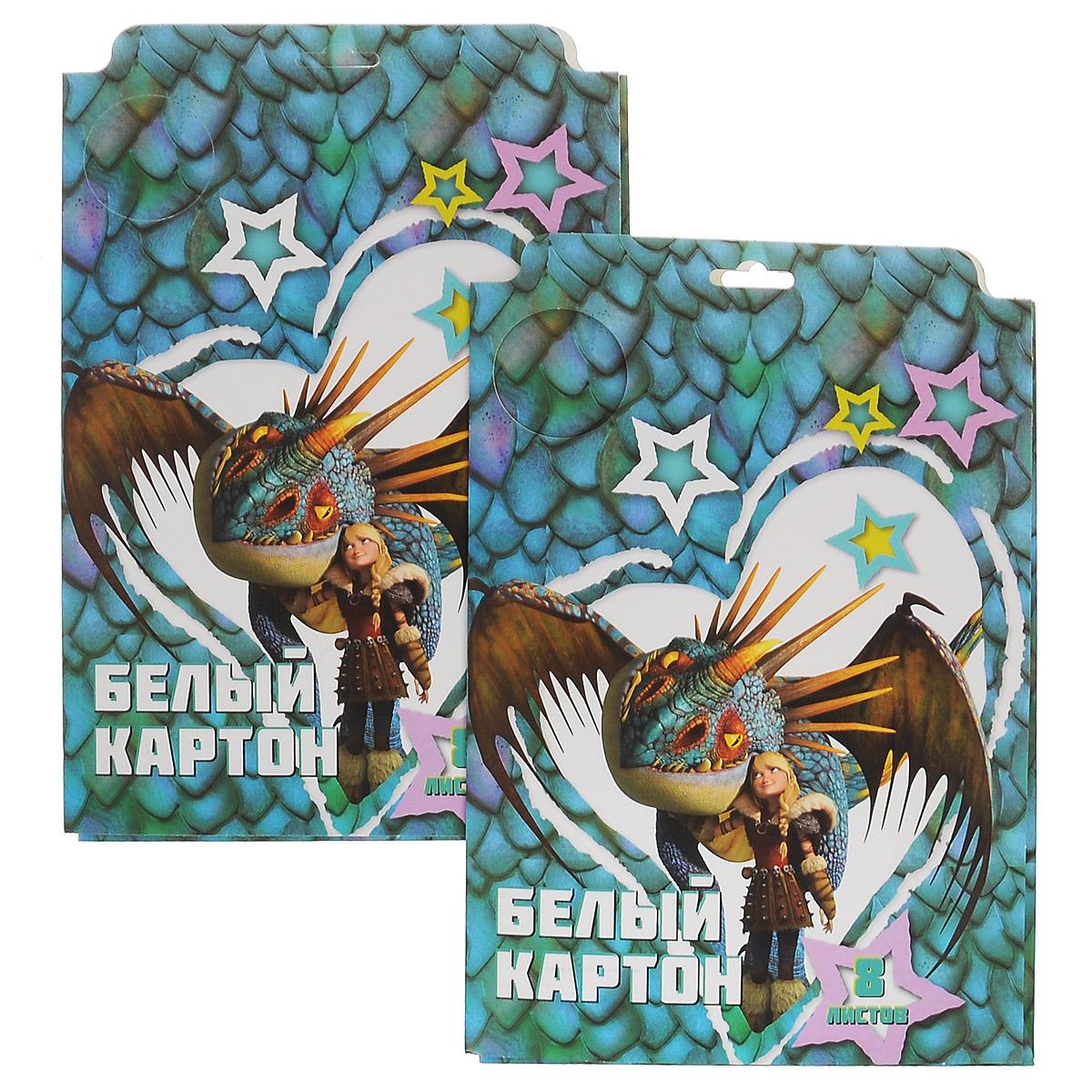 Action! Картон белый Dragons, мелованный, 8 листов, 2 шт40А4блВ_14397Картон мелованный белый Action! Dragons позволит вашему ребенку создавать всевозможные аппликации и поделки. Набор состоит из 8 листов картона белого цвета формата А4. Листы упакованы в оригинальную картонную папку, оформленную изображением героев Dragons. Создание поделок из картона поможет ребенку в развитии творческих способностей, кроме того, это увлекательный досуг.В комплекте 2 набора по 8 листов.Рекомендуемый возраст от 6 лет.