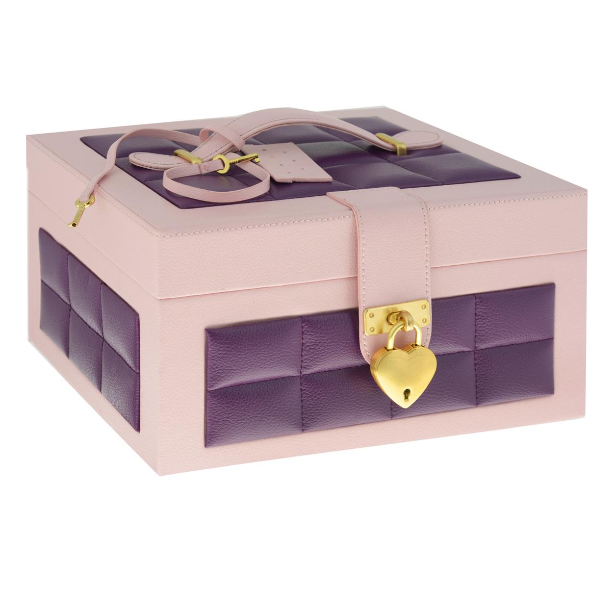 Шкатулка для украшений, цвет: розовый, фиолетовыйRG-D31SШкатулка для украшений выполнена в виде сундучка из искусственной кожи. Внутренняя поверхность шкатулки отделана бархатом. На внутренней стороне крышки имеется зеркальце и карман на резинке. Шкатулка закрывается на ремешок и замочек, выполненный в форме сердца, в комплекте - два ключа. Крышка оснащена ручкой для удобной переноски изделия.Шкатулка имеет два отделения: съемное верхнее и нижнее. Верхнее отделение содержит шесть небольших секций для цепочек и браслетов, а также две больших секции (одна из которых оснащена крышкой) для более крупных украшений. Валики используются под кольца и серьги. Большое нижнее отделение не содержит никаких перегородок и предназначено для хранения аксессуаров больших размеров. Великолепная шкатулка не оставит равнодушной ни одну любительницу изысканных вещей. Сочетание оригинального дизайна и функциональности сделает такую шкатулку практичным и стильным подарком и предметом гордости ее обладательницы.