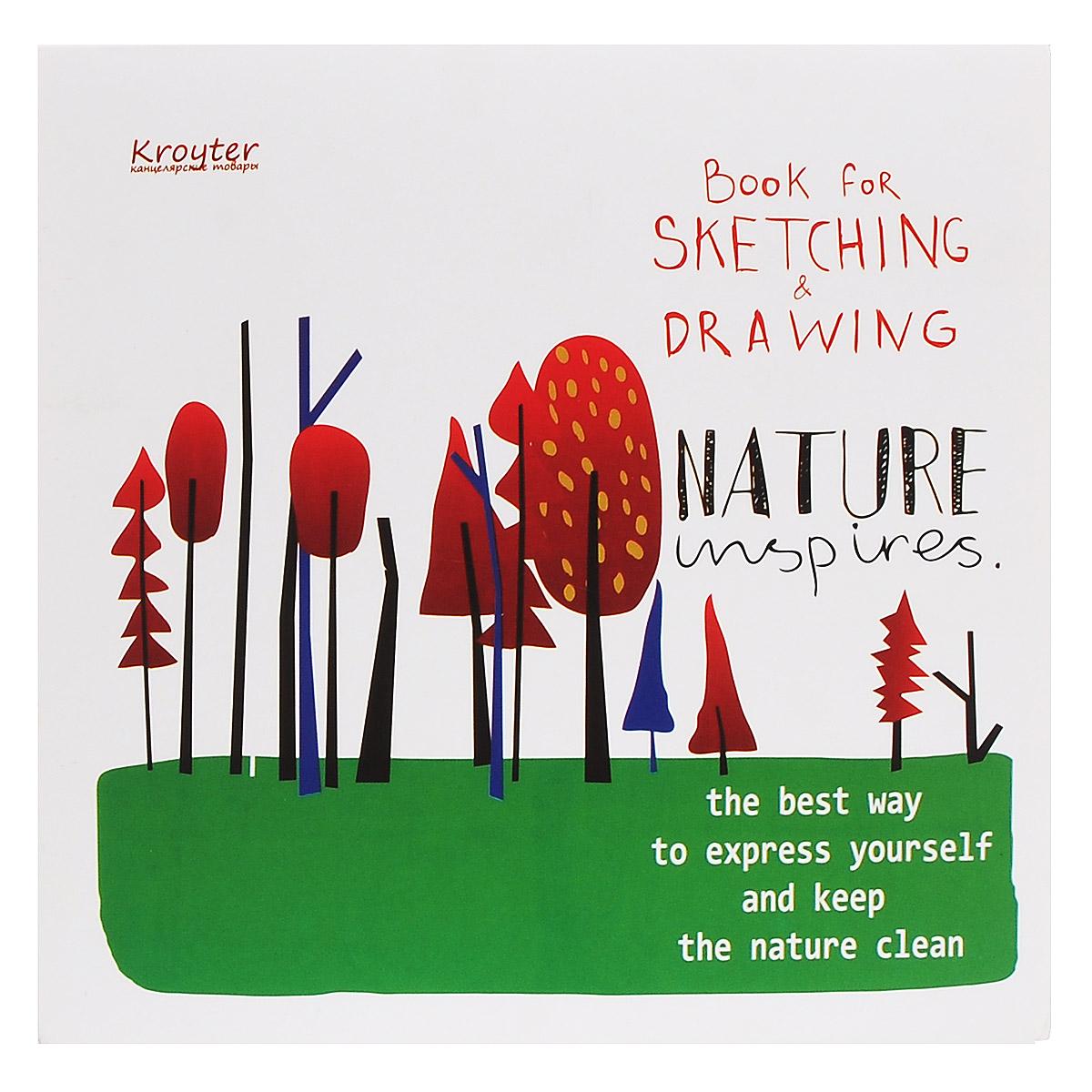 Альбом для эскизов Kroyter, 20 х 20 см, 60 листов0703415Альбом Kroyter предназначен для эскизов и рисования, подходит для работ тушью. Крепление блока - клеевое. Обложка выполнена из высококачественного мелованного картона. Альбом имеет стильный, современный дизайн. Картонная подложка планшет позволяет рисовать даже на весу.