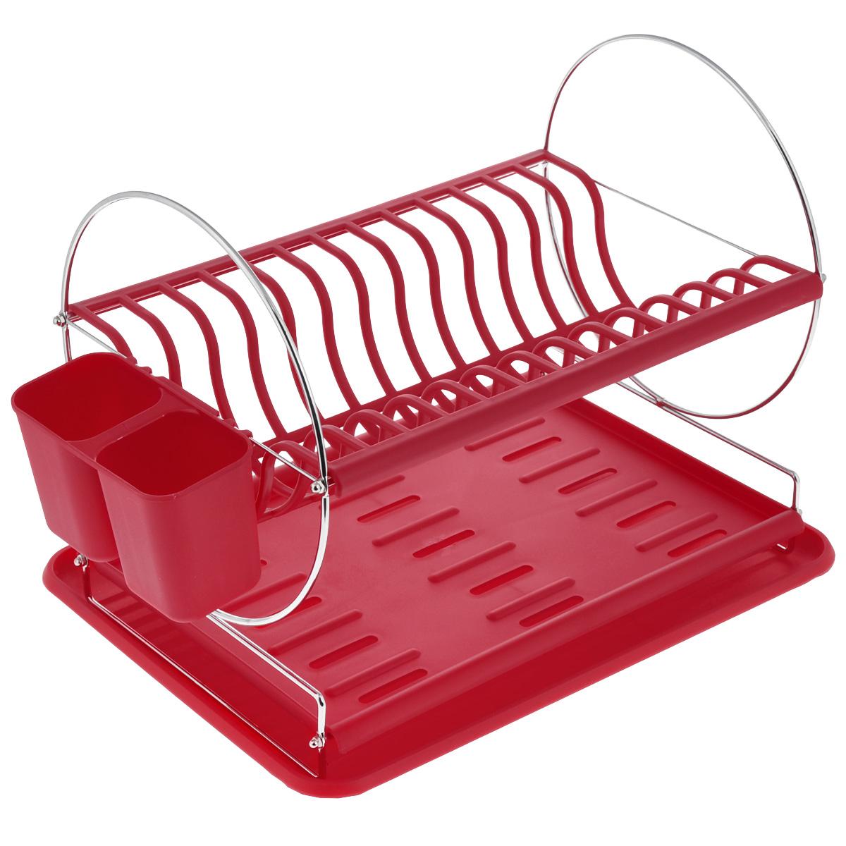 Сушилка для посуды Mayer & Boch, цвет: красный, 43 х 33 х 32,5 смVT-1520(SR)Сушилка для посуды Mayer & Boch отлично подходит для хранения кухонных принадлежностей и столовых приборов. Сушилка содержит подставку для тарелок, двойную подставку для столовых приборов и место для кружек и мисок. Изделие выполнено из высококачественного полипропилена и хромированного металла. Поддон для воды поможет сохранить кухню в чистоте. Элегантный, цветной дизайн прекрасно сочетается с интерьером любой кухни.