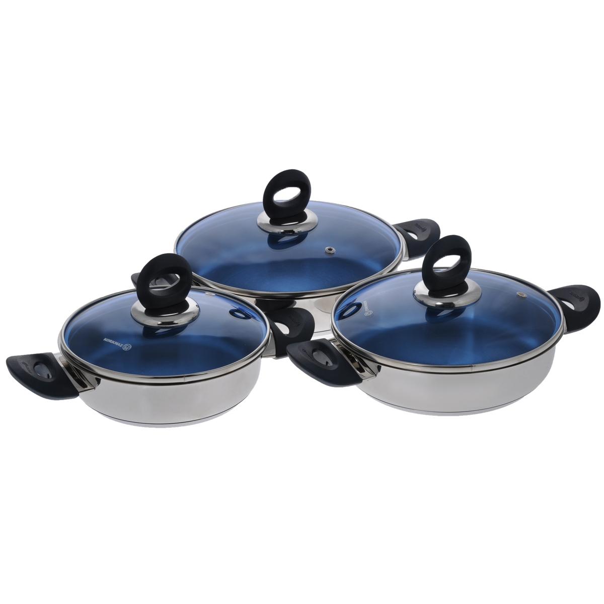 Набор сковород-омлетниц Korkmaz Mavis, 6 предметовFS-80299Набор Korkmaz Mavis включает 3 сковороды-омлетницы с крышками. Изделия выполнены из высокопрочной Cr-Ni нержавеющей стали марки 18/10 с внешней зеркальной полировкой. Инкапсулированное толстое дно обеспечивает наилучшее распределение и сохранение тепла. Поверхность посуды гигиенична, устойчива к появлению царапин, легко чистится. Отполированные до блеска поверхности длительное время сохраняют яркость. Посуда оснащена эргономичными ручками из бакелита. Крышки выполнены из удароустойчивого жаропрочного стекла голубого цвета, с пароотводом и металлическим ободом. Они плотно прилегают к краю посуды, сохраняют аромат блюд и позволяют готовить без потери тепла. Специальная форма посуды идеальна для приготовления омлета. Особая эстетическая округлая форма, яркий современный дизайн, сочные цвета - благодаря всему этому посуда выглядит стильно и оригинально. Посуду можно использовать на всех типах плит, включая индукционные. Подходит для чистки в посудомоечной машине. Объем: 0,9 л, 1,1 л, 1,4 л. Диаметр по верхнему краю: 16 см, 18 см, 20 см. Высота стенки: 4,5 см. Ширина сковород (с учетом ручек): 26 см, 28,5 см, 30,5 см. Диаметр дна: 13,5 см, 15,5 см, 17,5 см. Толщина стенки: 2 мм. Толщина дна: 4 мм.