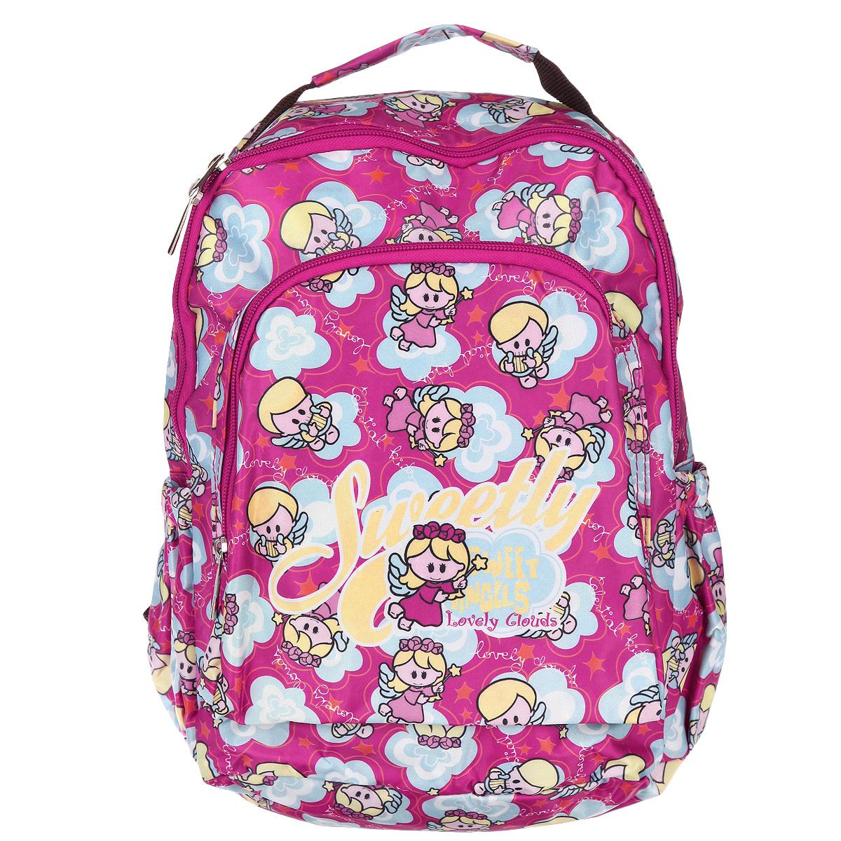 Рюкзак детский Hatber Angels, цвет: розовый, желтый, голубой. NRk_00322NRk_00322Рюкзак детский Hatber Angels очень легкий и прочный, изготовлен из нейлона. Рюкзак имеет одно основное отделение с секретным карманом на молнии, три внешних кармана, один на лицевой стороне и два боковых. На тыльной стороне рюкзака имеется небольшой карман на молнии, обеспечивающий быстрый доступ к необходимым вещам.Рюкзак оснащен широкими плечевыми ремнями, которые регулируются по длине, и нейлоновой ручкой для переноски в руке.