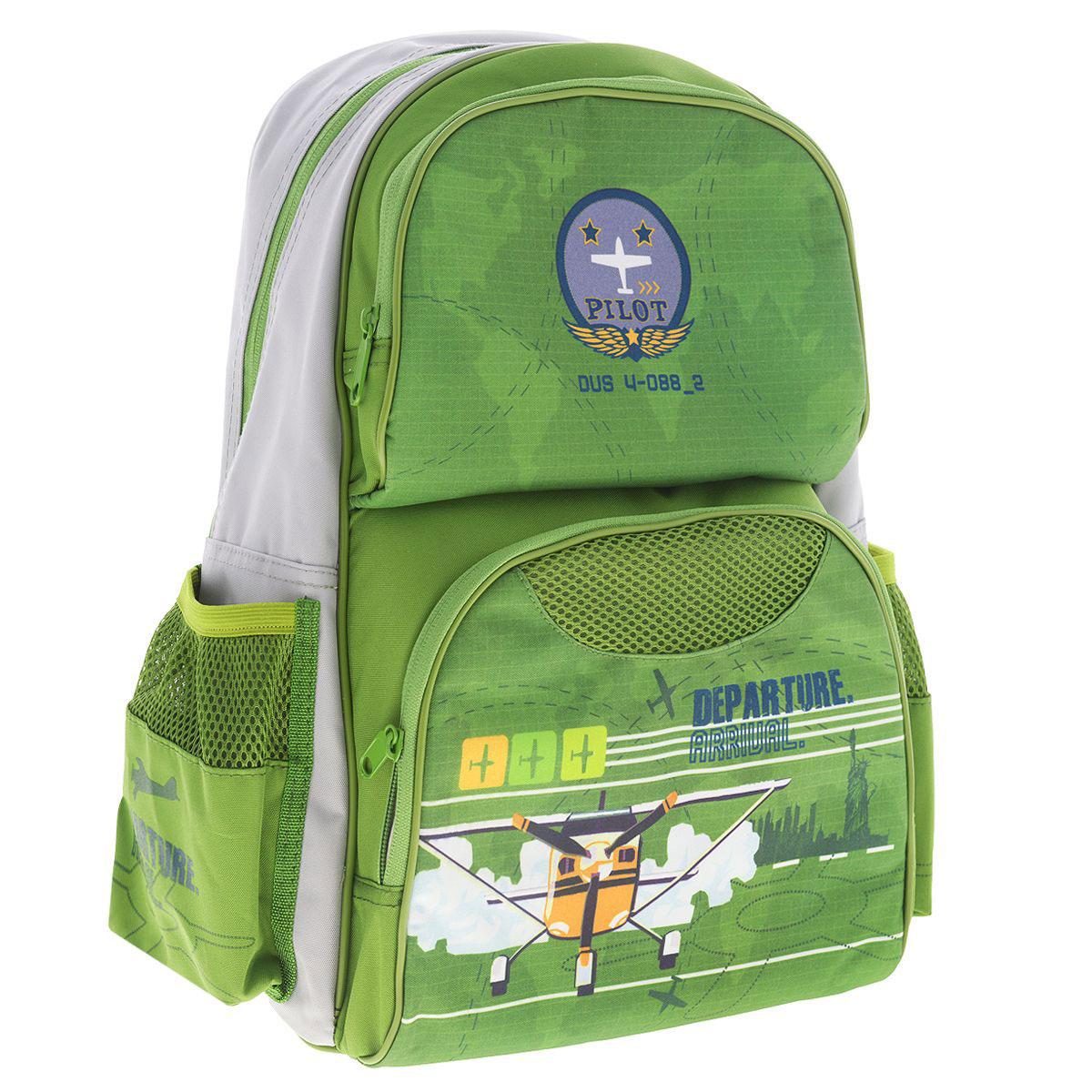 Рюкзак школьный Tiger Enterprise My Collection, цвет: зеленый, серый2904/TGСтильный школьный рюкзак My Collection небольшого размера - это красивый и удобный ранец, который подойдет всем, кто хочет разнообразить свои школьные будни. Благодаря анатомической спинке, повторяющей контур спины и двум эргономичным плечевым ремням, длина которых регулируется, у ребенка не возникнут проблемы с позвоночником. Ранец, выполненный из антибактериального, водоотталкивающего и не выгорающего на солнце материала, оформлен изображением самолета. Ранец состоит из одного основного отделения, закрывающегося на застежку-молнию. Внутри - накладной открытый карман. На внешней стороне рюкзак имеет два дополнительных кармана на застежке-молнии. По бокам рюкзак имеет два сетчатых кармана. Также есть текстильная ручка, с прорезиненной вставкой, для удобной переноски.