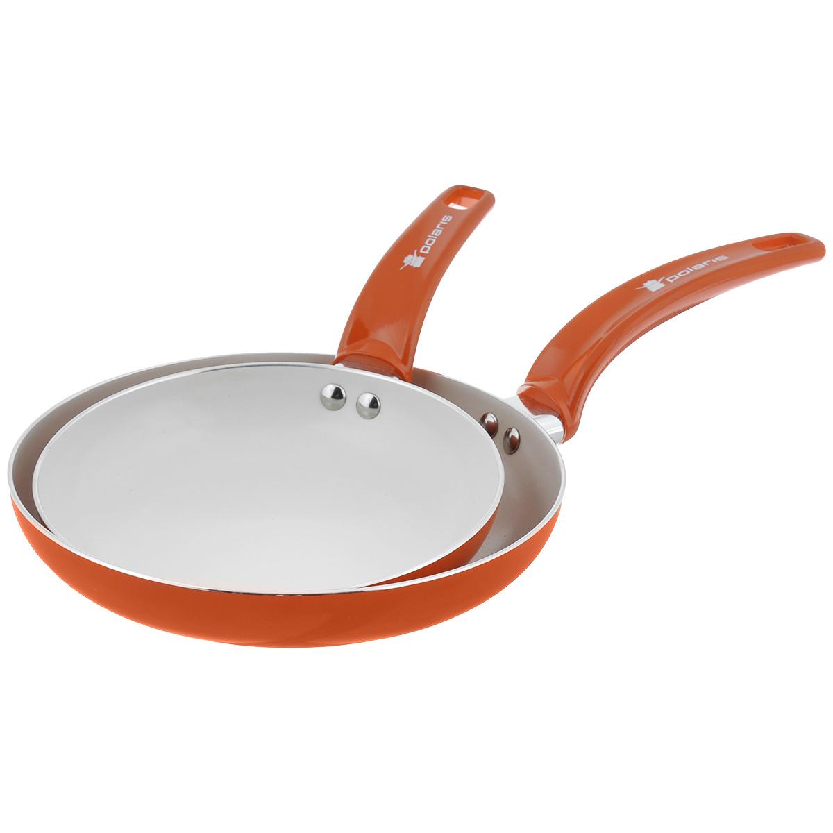 Набор сковород Polaris Rainbow, с керамическим покрытием, цвет: оранжевый, 2 штFS-80299Набор Polaris Rainbow включает две сковородки разного диаметра, выполненные из штампованного алюминия с керамическим антипригарным покрытием. Покрытие экологично, не содержит примеси PFOA и PTFE. Эргономичная ручка из бакелита не нагревается в процессе эксплуатации. Изделия подходят для всех типов плит, кроме индукционных. Можно мыть в посудомоечной машине. Диаметр сковород (по верхнему краю): 20 см, 24 см. Высота стенки сковород: 4 см, 4,5 см. Длина ручки сковород: 16 см, 18 см. Толщина стенки: 2,5 мм. Толщина дна: 3 мм.