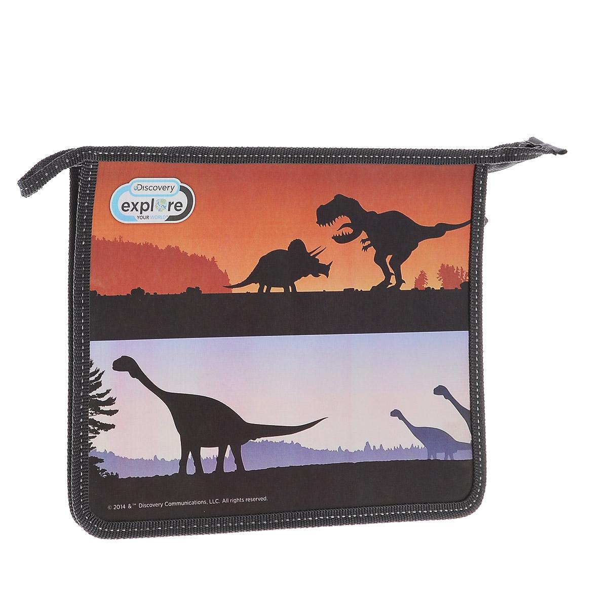Action! Папка для тетрадей Discovery Динозавры цвет черныйFS-36052Папка Action! Discovery предназначена для хранения тетрадей, рисунков и прочих бумаг с максимальным форматом А5. Папка выполнена из прочного материала и содержит одно отделение. Закрывается она на застежку-молнию. Лицевая сторона папки оформлена изображениями силуэтов динозавров.С папкой Action! Discovery тетради вашего ребенка всегда будут выглядеть опрятно.