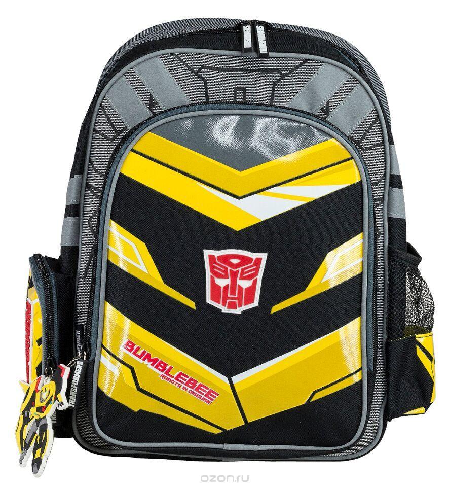 Рюкзак школьный Transformers Prime, цвет: черный, желтый, серый. TRCB-RT2-83672523WDРюкзак школьный Transformers Prime обязательно понравится вашему школьнику. Выполнен из прочных и высококачественных материалов, дополнен брелоком в виде трансформера.Содержит одно вместительное отделение, закрывающееся на застежку-молнию с двумя бегунками. Внутри отделения находятся две перегородки для тетрадей или учебников, а также открытый карман-сетка. Дно рюкзака можно сделатьжестким, разложив специальную панель с пластиковой вставкой, что повышает сохранность содержимого рюкзака и способствует правильному распределению нагрузки. Лицевая сторона оснащена накладным карманом на молнии. По бокам расположены два накладных кармана: на застежке-молнии и открытый, стянутый сверху резинкой. Специально разработанная архитектура спинки со стабилизирующими набивными элементами повторяет естественный изгиб позвоночника. Набивные элементы обеспечивают вентиляцию спины ребенка. Плечевые лямки анатомической формы равномерно распределяют нагрузку на плечевую и воротниковую зоны. Конструкция пряжки лямок позволяет отрегулировать рюкзак по фигуре. Рюкзак оснащен эргономичной ручкой для удобной переноски в руке. Светоотражающие элементы обеспечивают безопасность в темное время суток.Многофункциональный школьный рюкзак станет незаменимым спутником вашего ребенка в походах за знаниями.Вес рюкзака без наполнения: 700 г.Рекомендуемый возраст: от 7 лет.