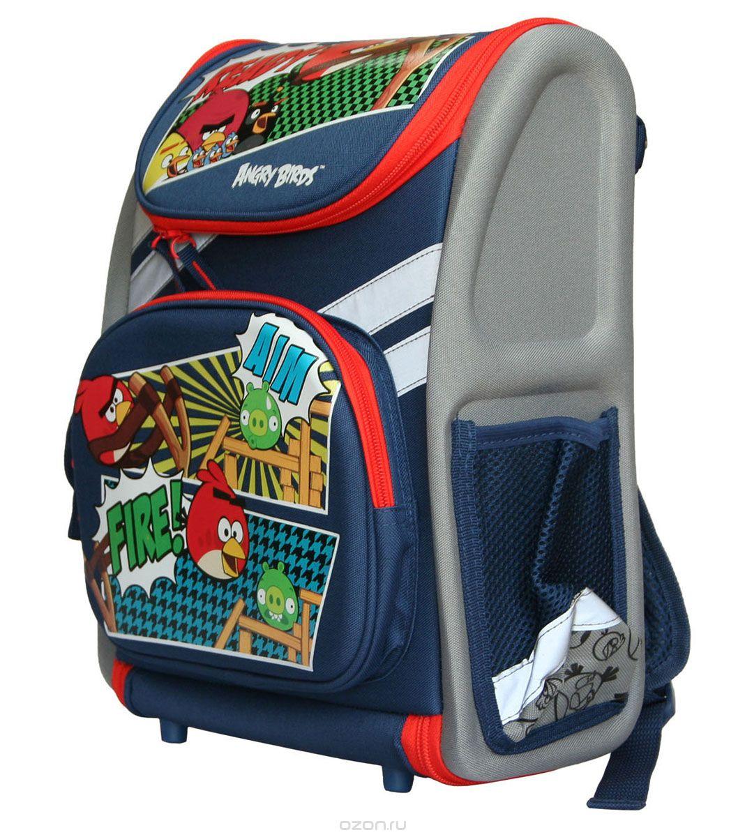 Ранец школьный Kinderline Angry Birds, цвет: синий, серый, красный72523WDРанец школьный Kinderline Angry Birds выполнен из современного легкого и прочного материала серого и синего цвета с ярким рисунком. Ранец имеет одно основное отделение, закрывающееся на молнию с двумя бегунками. Ранец полностью раскладывается. Внутри главного отделения расположены: накладной сетчатый карман и два разделителя с утягивающей резинкой, предназначенные для размещения предметов без сложения, размером до формата А4 включительно. На лицевой стороне ранца расположен накладной карман на молнии. По бокам ранца размещены два дополнительных накладных кармана, один под клапаном на липучке, и один открытый. Рельеф спинки ранца разработан с учетом особенности детского позвоночника.Ранец оснащен ручкой для переноски и двумя широкими лямками, регулируемой длины. Дно ранца защищено пластиковыми ножками. Ранец оснащен удобной ручкой для переноски и двумя широкими лямками, регулируемой длины. Многофункциональный школьный ранец станет незаменимым спутником вашего ребенка в походах за знаниями.