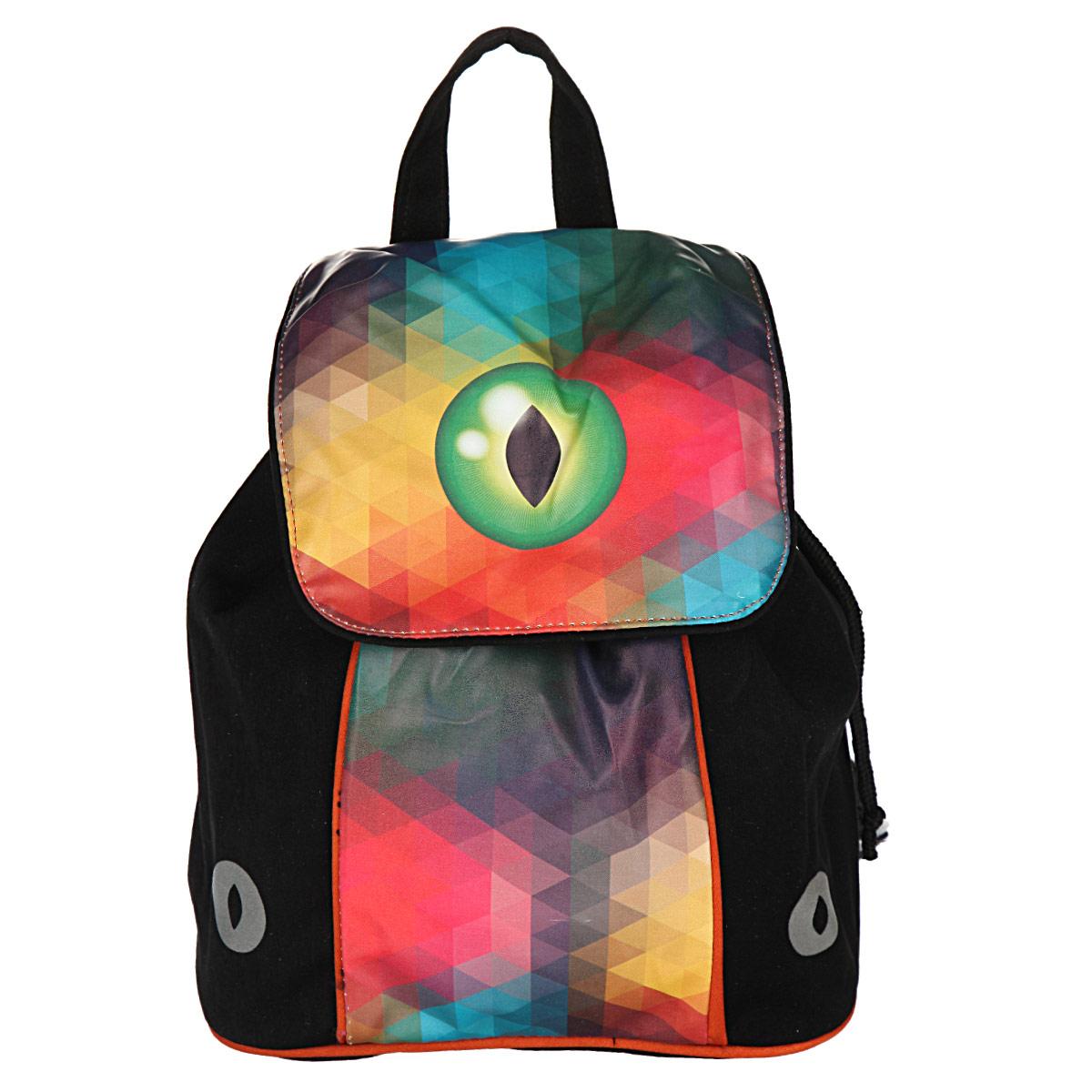 Рюкзак детский Proff Magic Eye, цвет: черный, желтый, красный, зеленый. CI15-BPM-020066-GB01-P1Рюкзак детский Proff Magic Eye изготовлен из прочного полиэстера, украшен оригинальным рисунком с изображением магического глаза. Изделие имеет одно вместительное отделение, завязывающееся на тесемки, с накидным клапаном сверху, на кнопке. Особенностью рюкзака является второй доступ в основное отделение, расположенный со спины, застегивающийся на молнию. Для комфортной переноски сверху рюкзак оснащен текстильной ручкой. Стильный и удобный рюкзак станет отличным подарком для ребенка!