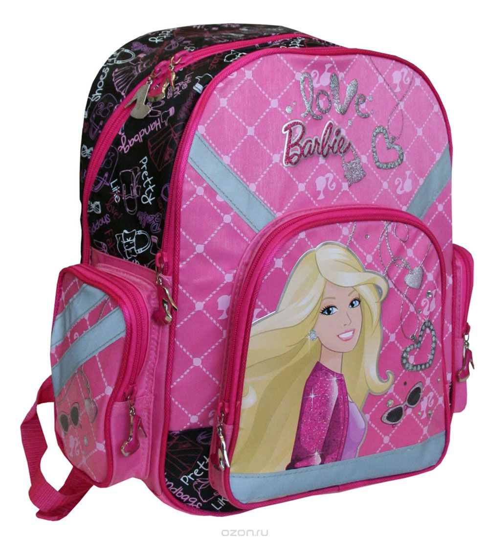 Рюкзак Barbie, цвет: розовый, малиновый. BRAB-RT2-962137474_Storm TrooperСпинка рюкзака Barbie выполнена с использованием высокотехнологичного упругого материала (EVA) и специально расположенных эргономических элементов с воздухообменной сеткой, служащих для правильного и безопасного распределения нагрузки на спину ребенка. Лямки рюкзака специальной S-образной формы с поролоном и воздухообменной сеткой регулируются по длине. Данные конструктивные особенности помогут обеспечить максимальный комфорт при ношении рюкзака за спиной ребенку любой комплекции.Рюкзак Barbie имеет два больших отделения на молнии. Основное отделение с двумя разделителями. Вместительное дополнительное отделение, вмещающее изделия форматом до А4 включительно. Рюкзак снабжен двумя боковыми карманами, вместительным фронтальным карманом на молнии и текстильной ручкой с резиновым захватом. Дно рюкзака можно сделать жестким, разложив специальную панель с пластиковой вставкой, что повышает сохранность содержимого рюкзака и способствует правильному распределению нагрузки.