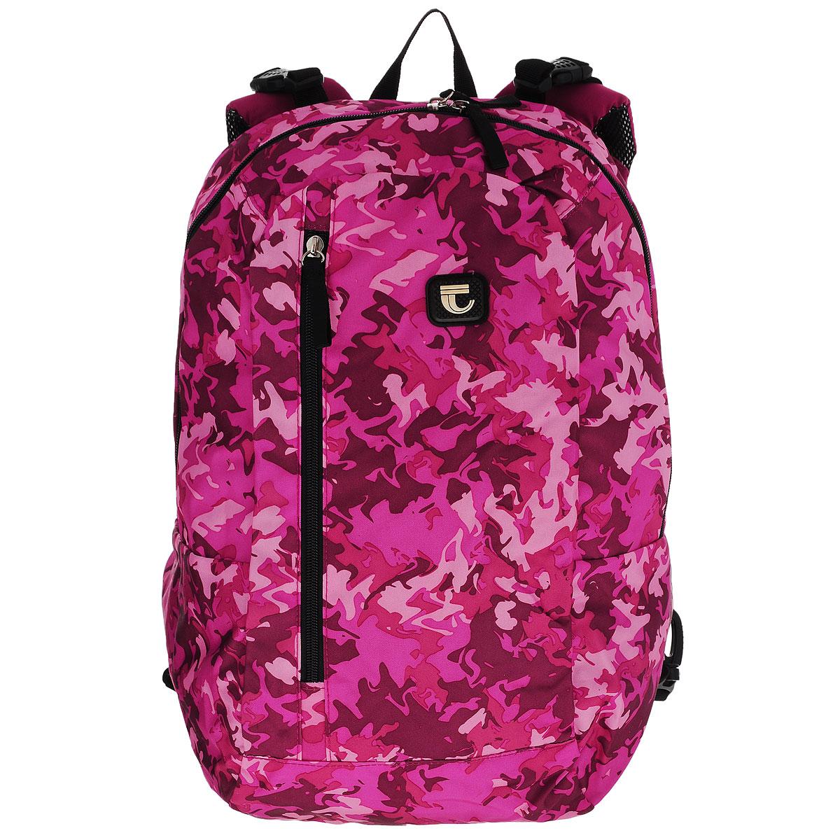 Рюкзак двусторонний Tiger, цвет: розовый, бордовый81010/TG_розовыйРюкзак Tiger изготовлен из качественного полиэстера, характеризующегося повышенной износостойкостью. Отстегивающаяся задняя дополнительная панель с регулируемыми лямками, позволяет менять расцветку рюкзака с камуфляжной на однотонную. Рюкзак имеет одно основное отделение, закрывающееся на молнию, в котором имеется врезной карман на застежке-молнии. На лицевой панели также имеется один карман на молнии. При изменении рюкзака, он будет иметь одно основное отделение на молнии и дополнительный карман на вертикальной молнии. Изделие дополнено съемными регулируемыми сверху и снизу лямки с сетчатой набивкой. Многофункциональный школьный ранец станет незаменимым спутником вашего ребенка.