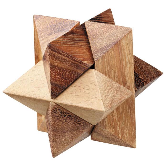 """Головоломка Dilemma """"Звезда"""", выполненная из дерева, станет отличным подарком всем любителям головоломок! Головоломка представлена для одного игрока, состоящая из 6 деревянных элементов различной формы. Необходимо разобрать изделие и собрать снова в трехмерную пересекающуюся конструкцию. Слишком сложно? Тогда воспользуйтесь предложенной подсказкой в инструкции. Головоломка Dilemma """"Звезда"""" стимулирует логику, пространственное мышление и мелкую моторику рук."""
