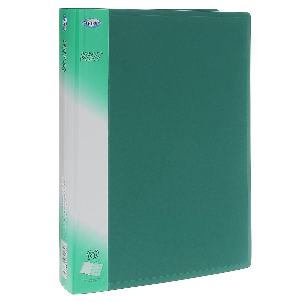 Папка с файлами Centrum Visit, 60 листов, цвет: зеленый. 80037C13S041944Папка Centrum Visit с 60 прозрачными вкладышами-файлами предназначена для хранения и презентации документов формата А4. Папка изготовлена из полупрозрачного фактурного пластика, благодаря чему документы, помещенные в нее, будут надежно защищены. Прочное соединение папки и вкладышей обеспечено за счет их лазерной сварки. Углы папки закруглены.Папка надежно сохранит ваши документы и сбережет их от повреждений, пыли и влаги.