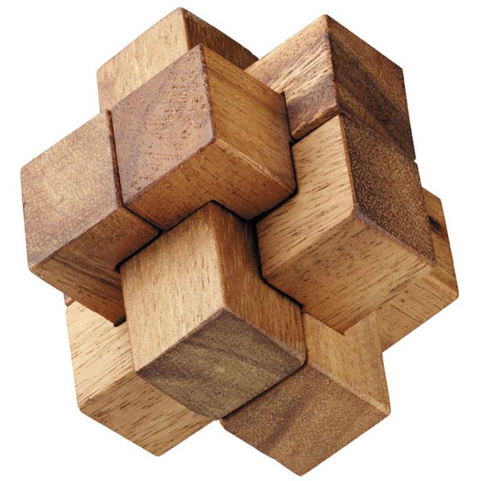 """Головоломка Dilemma """"Колючка"""", выполненная из дерева, станет отличным подарком всем любителям головоломок! Головоломка для одного игрока. Представляет собой 6 деревянных элементов. Не менее трех элементов должны пересекаться под прямыми углами. Необходимо разобрать и собрать снова в трехмерную пересекающуюся конструкцию. Слишком сложно? Тогда вы можете воспользоваться подсказкой, которая находится в инструкции. Головоломка Dilemma """"Колючка"""" стимулирует логику, пространственное мышление и мелкую моторику рук."""