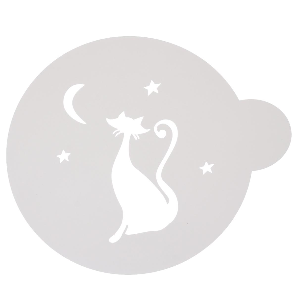 Трафарет на кофе и десерты Кошечка, цвет: белый, диаметр 10 см трафарет на кофе и десерты леденцовая фабрика кошка с рыбой диаметр 10 см