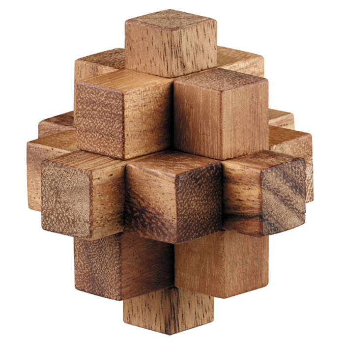 """Головоломка Dilemma """"Падающая звезда"""", выполненная из дерева, станет отличным подарком всем любителям головоломок! Состоит из 9 деревянных элементов. Некоторые элементы одинаковой формы, так что всего здесь 4 разных вида элементов. Необходимо разобрать куб и собрать его снова. Рассчитана на одного игрока. Головоломка Dilemma """"Падающая звезда"""" стимулирует логику, пространственное мышление и мелкую моторику рук."""