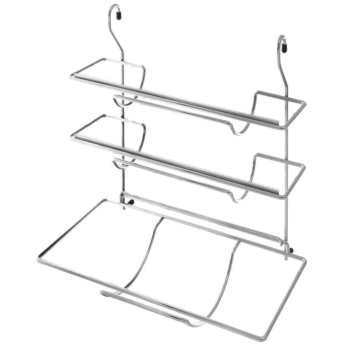 Держатель для фольги и бумажных полотенец Tescoma Monti, навесной, 33 смFA-5125 WhiteНавесной держатель для фольги и бумажных полотенец Tescoma выполнен из прочного металла с хромированным покрытием. Он устойчив к механическим повреждениям и пару, легко моется. Держатель снабжен тремя планками для хранения всех обычных видов фольги, продуктовой пленки и бумажных полотенец в рулонах. Такой держатель отлично подойдет к интерьеру вашей кухни. Подвешивается на рейлинг.