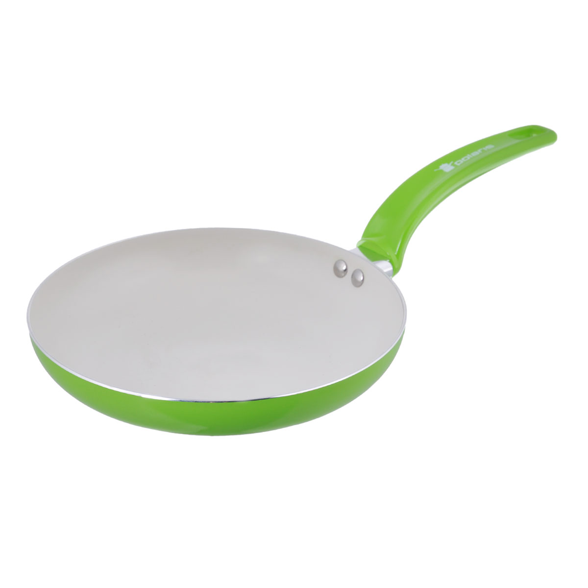 Сковорода Polaris Rainbow, с керамическим покрытием, цвет: салатовый. Диаметр 24 см54 009312Сковорода Polaris Rainbow изготовлена из штампованного алюминия толщиной 2,5 мм с керамическим антипригарным покрытием. Данное покрытие является абсолютно экологичным и не содержит вредных веществ, таких как PTFE и PFOA. Это позволяет готовить здоровую пищу с минимальным добавлением жира или подсолнечного масла. Сковорода быстро разогревается и распределяет тепло по всей поверхности.Сковорода оснащена удобной ручкой из бакелита. Изделие подходит для газовых, электрических, стеклокерамических плит. Не подходит для индукционных плит. Сковороду можно мыть в посудомоечной машине. Не использовать в СВЧ-печах.Высота стенки: 4,5 см.Толщина стенки: 2,5 мм.Толщина дна: 2,5 мм.Длина ручки: 18 см.
