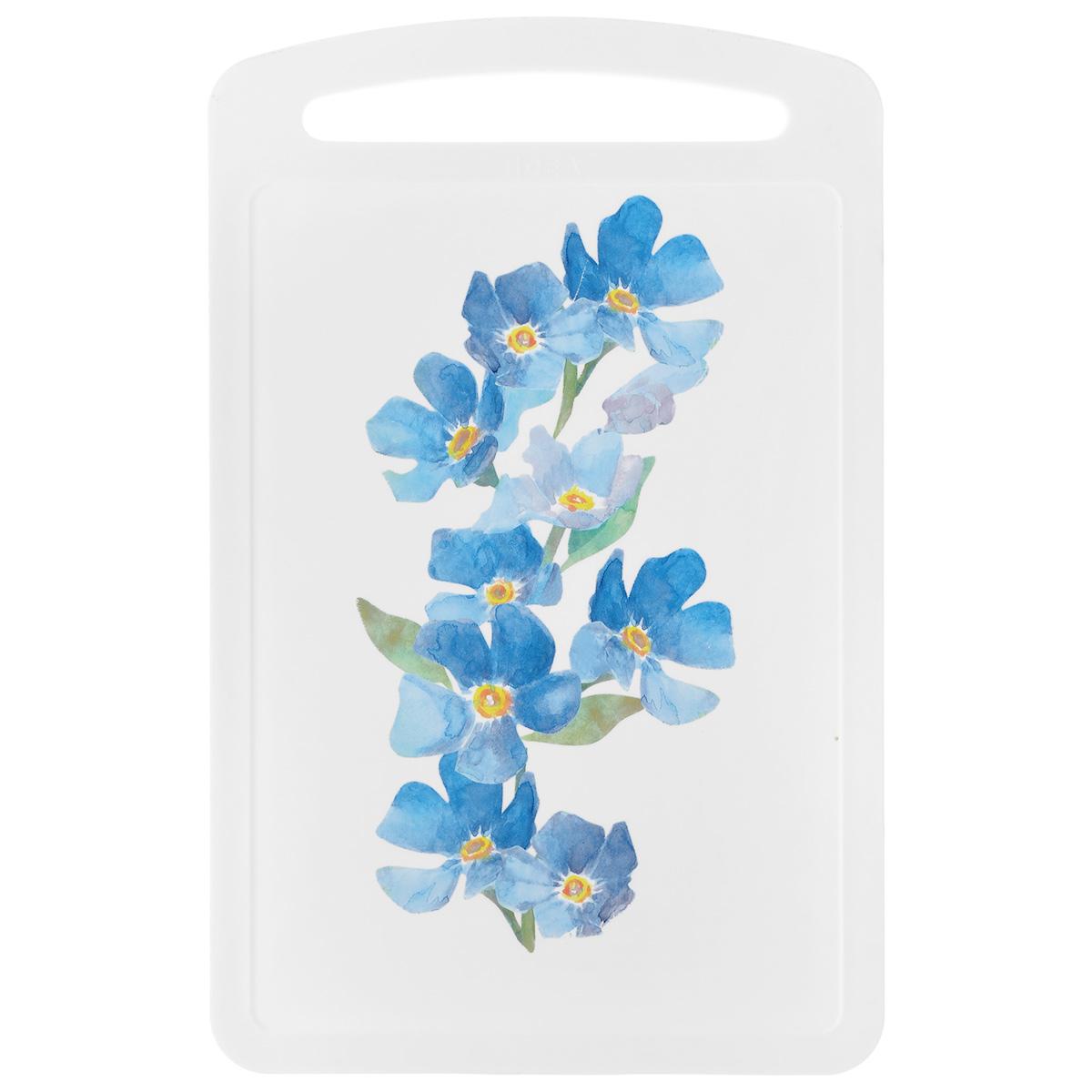 Доска разделочная Idea Голубые цветы, 27,5 см х 17 см68/5/4Разделочная доска Idea Голубые цветы изготовлена из высококачественного пищевого пластика с красивым цветочным рисунком. Изделие снабжено ручкой и желобками по краю для стока жидкости.