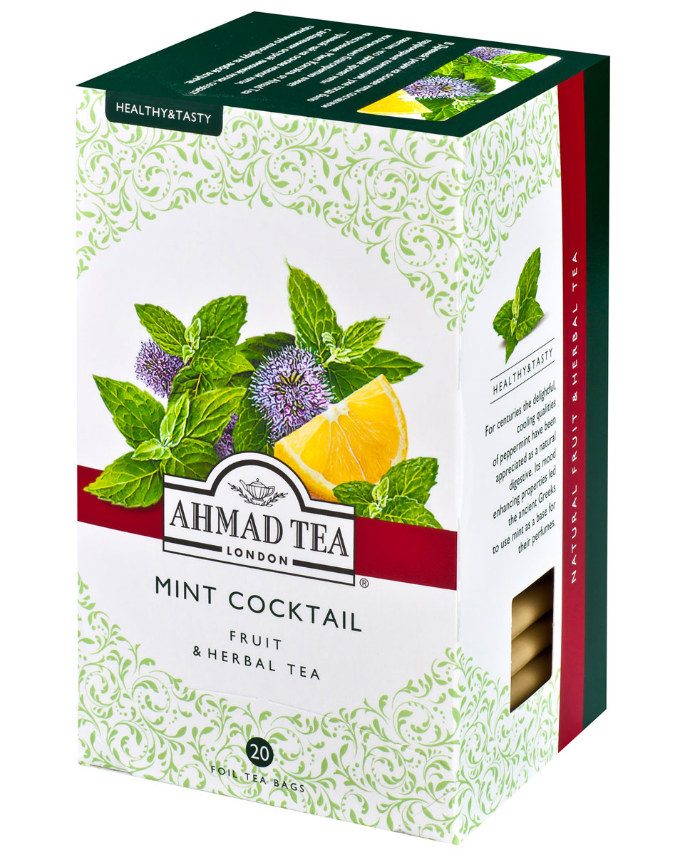 Ahmad Tea Mint Cocktail травяной чай в фольгированных пакетиках, 20 шт0120710В Древней Греции на основе мяты составляли парфюмерные композиции, уже тогда было известно, что мята обладает множеством полезных свойств, а аромат мяты исключительно благоприятно влияет на настроение. Минт Коктэйль от Ahmad Tea - травяной чай на основе нежной мяты, c добавлением острой лимонной нотки, создаст гармоничную атмосферу на любой встрече.