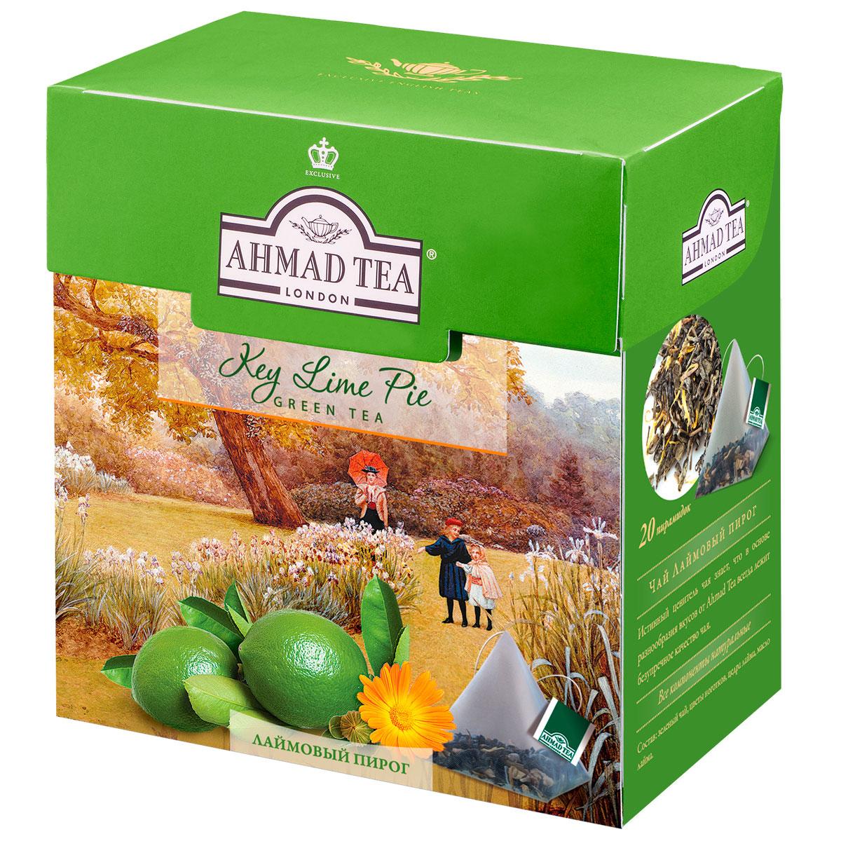 Ahmad Tea Lime Pie зеленый чай в пирамидках, 20 шт0120710Ароматный купаж зеленого чая Ahmad Lime Pie со вкусом лаймового пирога - обворожительная фантазия чайных сомелье на тему десертных композиций. Светлый настой золотистого цвета обладает освежающим ароматом садовых трав, традиционной сладостью китайского зеленого чая и сливочно-лаймовым послевкусием.Заваривать 4-6 минут, температура воды 90°С.