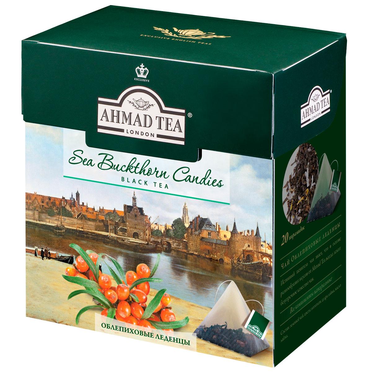 Ahmad Tea Buckthorn Candies черный чай в пирамидках, 20 шт0120710Ahmad Tea Buckthorn Candies - черный чай в пирамидках. Ягоды облепихи в сочетании с черным чаем составляют утонченную вкусовую палитру. Букет цейлонского и ассамского чая играет главную ноту, которую гармонично подчеркивает кисло-сладкое облепиховое послевкусие.