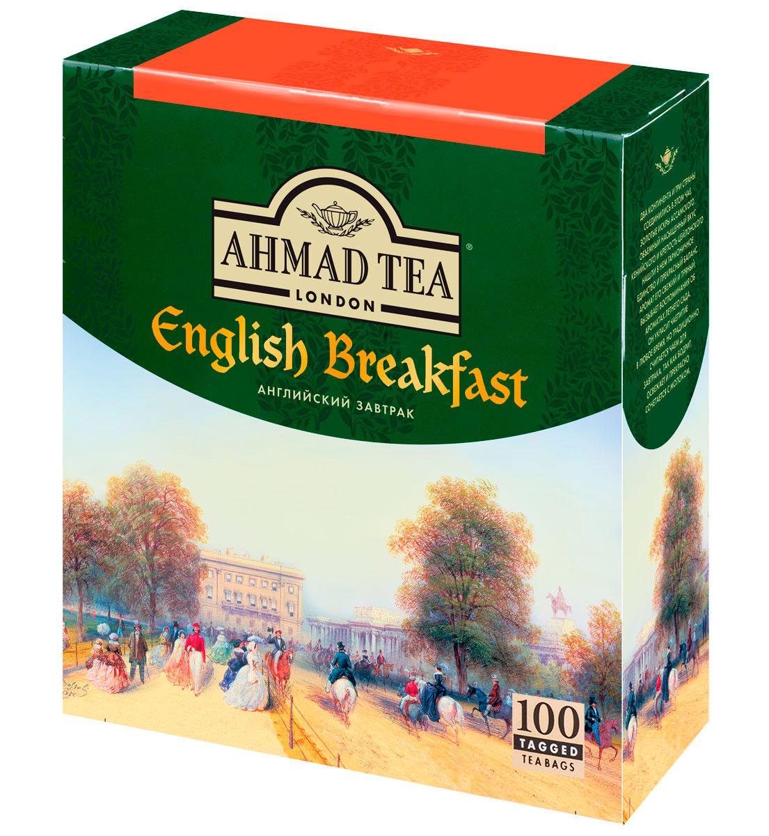 Ahmad Tea English Breakfast черный чай в пакетиках, 100 шт0120710Два континента и три страны соединились в чае Ahmad English Breakfast. Золотистые искры ассамского, объемный и насыщенный вкус кенийского и крепость цейлонского нашли в нем гармоничное единство и прекрасный баланс. Аромат его свежий и пряный, вызывает воспоминания об ароматах летнего сада. Он украсит чаепитие в любое время, но традиционно считается чаем для завтрака, так как бодрит, освежает и прекрасно сочетается с молоком.Заваривать 5-7 минут, температура воды 100 °С.