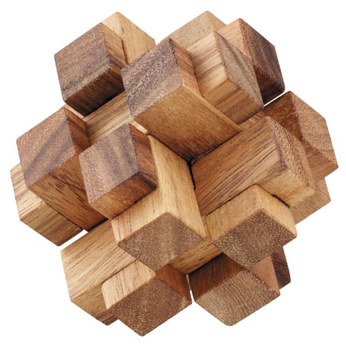 """Головоломка Dilemma """"Квадратные кубики 3D"""", выполненная из дерева, станет отличным подарком всем любителям головоломок! Изделие состоит из 12 одинаковых деревянных элементов. Попытайтесь разобрать головоломку, а потом собрать снова. Сложно? Тогда вы можете воспользоваться подсказкой из предложенного решения. Рассчитана игра на одного игрока. Головоломка Dilemma """"Квадратные кубики 3D"""" стимулирует логику, пространственное мышление и мелкую моторику рук."""