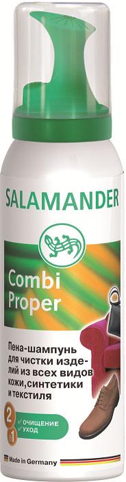 Пена-шампунь Salamander Combi Proper, 125 млSS 4041Пена-шампунь Salamander Combi Proper предназначена для чистки изделий из всех видов кожи, синтетики и текстиля. Легко удаляет загрязнения, разводы от соли и воды, углубляет цвет изделий и ухаживает за ними. Подходит для всех материалов и цветов. Состав: вода, >30% алифатические углеводороды (бутан / пропан), изопропиловый спирт, Товар сертифицирован.