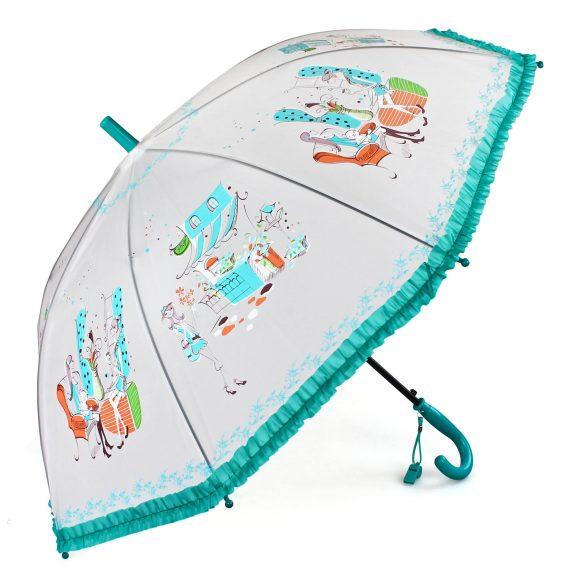 Зонт детский Модница, 55 см, бирюзовый, свистокK50K502473_0010Детский зонтик-тросточка с ярким принтом защитит ребенка от непогоды. Зонтик не боится дождя и ветра благодаря прочному креплению купола к каркасу. Изогнутая ручка позволяет крепко держать его в руках. К ручке прикреплен свисток.Технические характеристики: Полуавтоматическая система складывания; Концы спиц закрыты пластиковыми шариками; Пластиковый фиксатор на стержне зонтика; Радиус купола – 50 см .