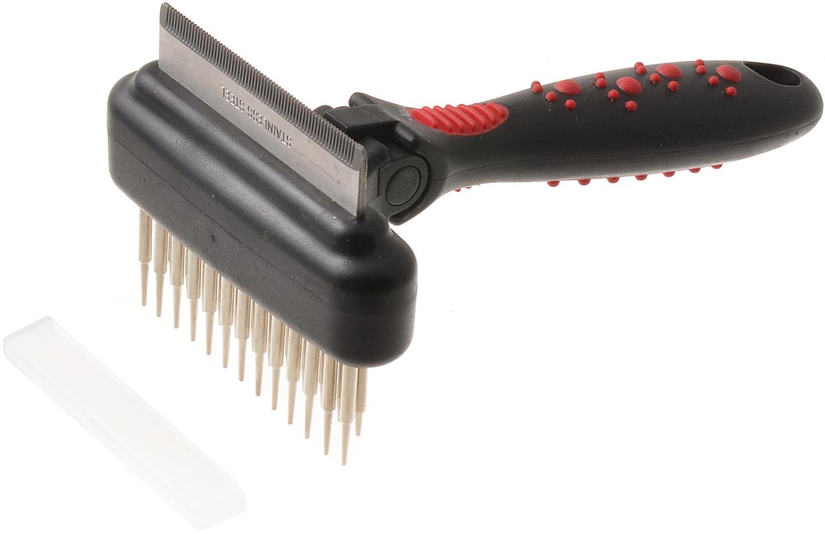 Расческа для животных Hello Pet, комбинированная. 48065STP15436-1Расческа для животных Hello Pet совмещает в себе грабли и фурминатор. Двухрядные грабли с плавающими зубьями удаляют старую шерсть, грязь и предотвращают скатывание шерсти.Фурминатор с изгибом, оснащенный 65 зубьями, служит для удаления отмершего подшерстка, предотвращает линьку на 90%. Глубоко проникает в шерсть, не повреждая кожу, делает шерсть здоровой и блестящей. Комбинированная расческа выполнена из стали и пластика.Размер изделия: 9 х 7 х 17 см.