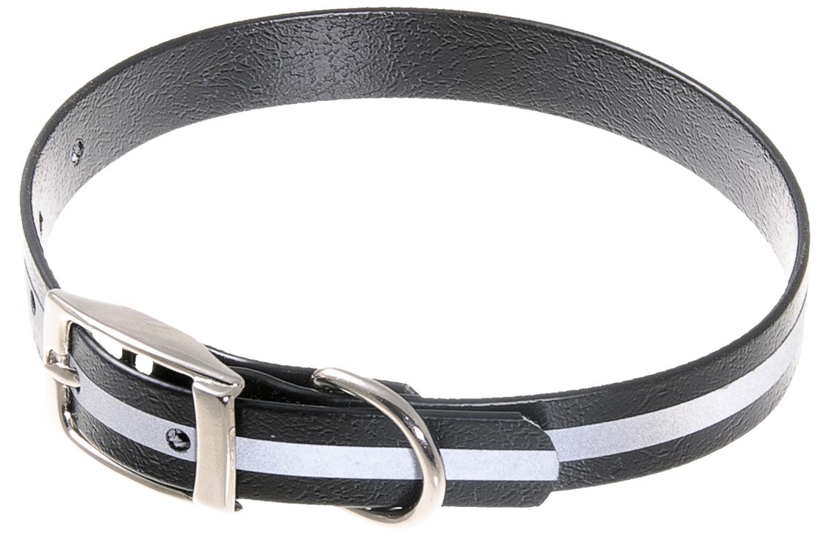 Ошейник для собак V.I.Pet, светоотражающий, цвет: черный, ширина 15 мм, обхват шеи 27-35 см0120710Биотановый ошейник V.I.Pet подходит для любой, в том числе дождливой погоды, а благодаря светоотражающей полосе делает собаку заметной в темное время суток и обеспечивает безопасность собаки на прогулке. Он не впитывает влагу, не набухает. Легко моется - его достаточно просто протереть. Устойчив к выгоранию, истиранию и изнашиванию. Особо прочный - лента выдерживает нагрузку на разрыв более 300 кг. Материал: Лента PVC, сталь.