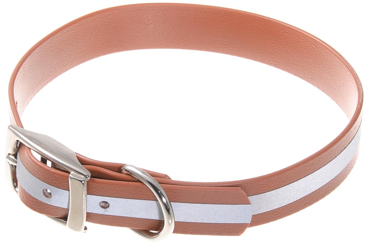 Ошейник для собак V.I.Pet, светоотражающий, цвет: коричневый, ширина 20 мм, обхват шеи 35-43 см0120710Биотановый ошейник V.I.Pet подходит для любой, в том числе дождливой погоды, а благодаря светоотражающей полосе делает собаку заметной в темное время суток и обеспечивает безопасность собаки на прогулке. Он не впитывает влагу, не набухает. Легко моется - его достаточно просто протереть. Устойчив к выгоранию, истиранию и изнашиванию. Особо прочный - лента выдерживает нагрузку на разрыв более 400 кг. Материал: Лента PVC, сталь.