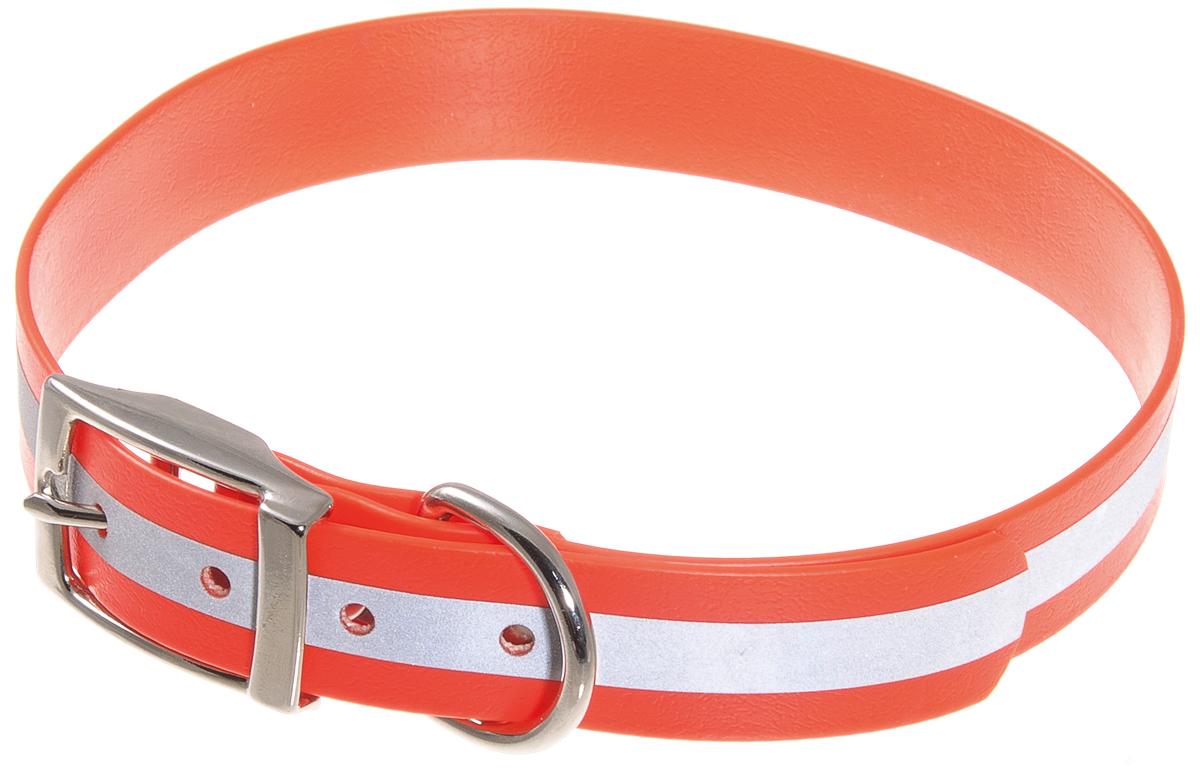 Ошейник биотановый V.I.Pet, светоотражающий, цвет: оранжевый, ширина 25 мм, длина 45-53 см0120710Биотановый ошейник подходит для любой, в том числе дождливой погоды, а благодаря светоотражающей полосе делает собаку заметной в темное время суток и обеспечивает безопасность собаки на прогулке.Биотан - прочный синтетический материал, представляющий собой синтетическую стропу, покрытую специальным составом.Основные достоинства биотанового ошейника:- не впитывает влагу, не набухает;- легко моется: его достаточно просто протереть;- устойчив к выгоранию, истиранию и изнашиванию;- сохраняет гибкость и эластичность при отрицательной температуре, поэтому ошейники особенно подойдут для любителей долгих прогулок в холодное время года, охотникам;- особо прочный: лента выдерживает нагрузку на разрыв более 450 кг.Материал: лента PVC (армированная), сталь.Цвет: оранжевый.Ширина: 25 мм.Длина: 45-53 см.