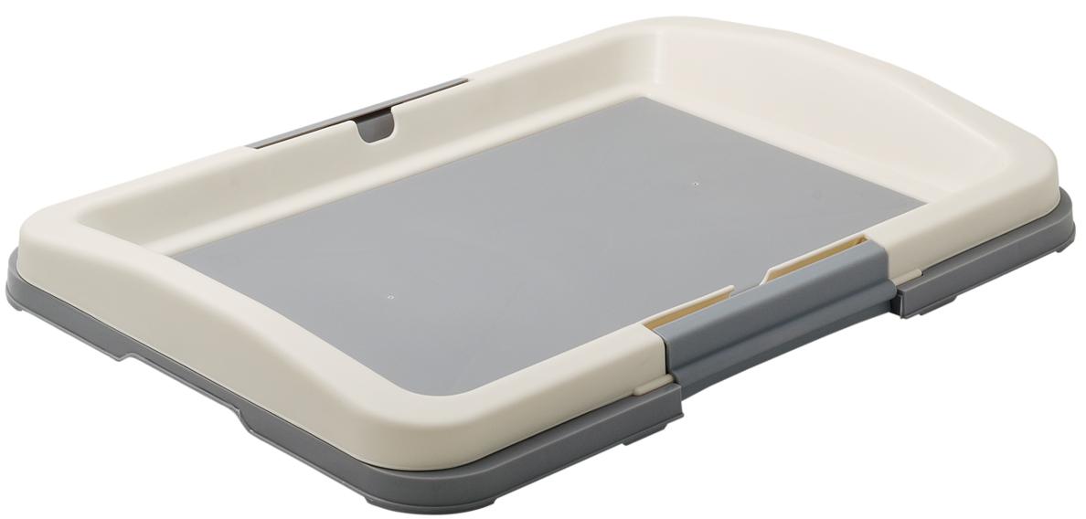 Туалет для собак V.I.Pet Японский стиль, цвет: серый, белый, 48 х 35 х 5 см0120710Туалет для собак V.I.Pet Японский стиль, изготовленный из нетоксичного пластика, предназначен для собак и щенков. Гигиеническая пеленка помещается под рамку, которая удерживается боковыми фиксаторами. Туалет легко моется водой. Основание снабжено противоскользящими ножками.