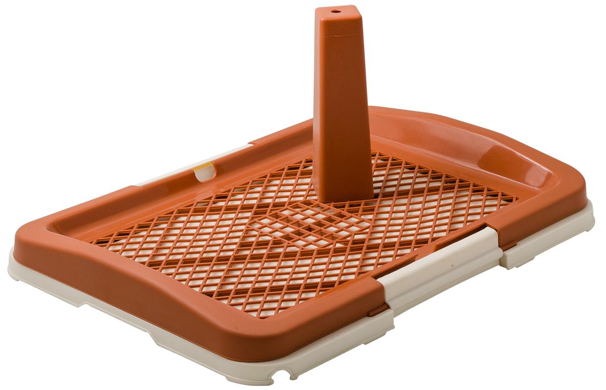 Туалет для собак V.I.Pet Японский стиль, со столбиком, цвет: коричневый, молочный, 48 х 35 х 5 см0120710Туалет для собак V.I.Pet Японский стиль, изготовленный из нетоксичного пластика, предназначен для собак и щенков. Съёмный столбик легко крепится на решетку и позволяет применять туалет независимо от пола собаки. Гигиеническая пелёнка помещается под решетку, которая удерживается боковыми фиксаторами. Туалет легко моется водой.