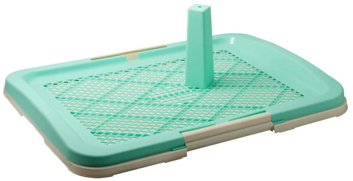 Туалет для собак V.I.Pet Японский стиль, со столбиком, цвет: зеленый, молочный, 63 х 49 х 6 см209Туалет V.I.Pet предназначен для собак и щенков. Выполнен из нетоксичного пластика. Съемный столбик легко крепится на решетку и позволяет применять туалет независимо от пола собаки. Гигиеническая пеленка (не входит в комплект) помещается под решетку, удерживаемую боковыми фиксаторами. Решетка защищает пеленку от погрызов. Туалет легко моется водой.