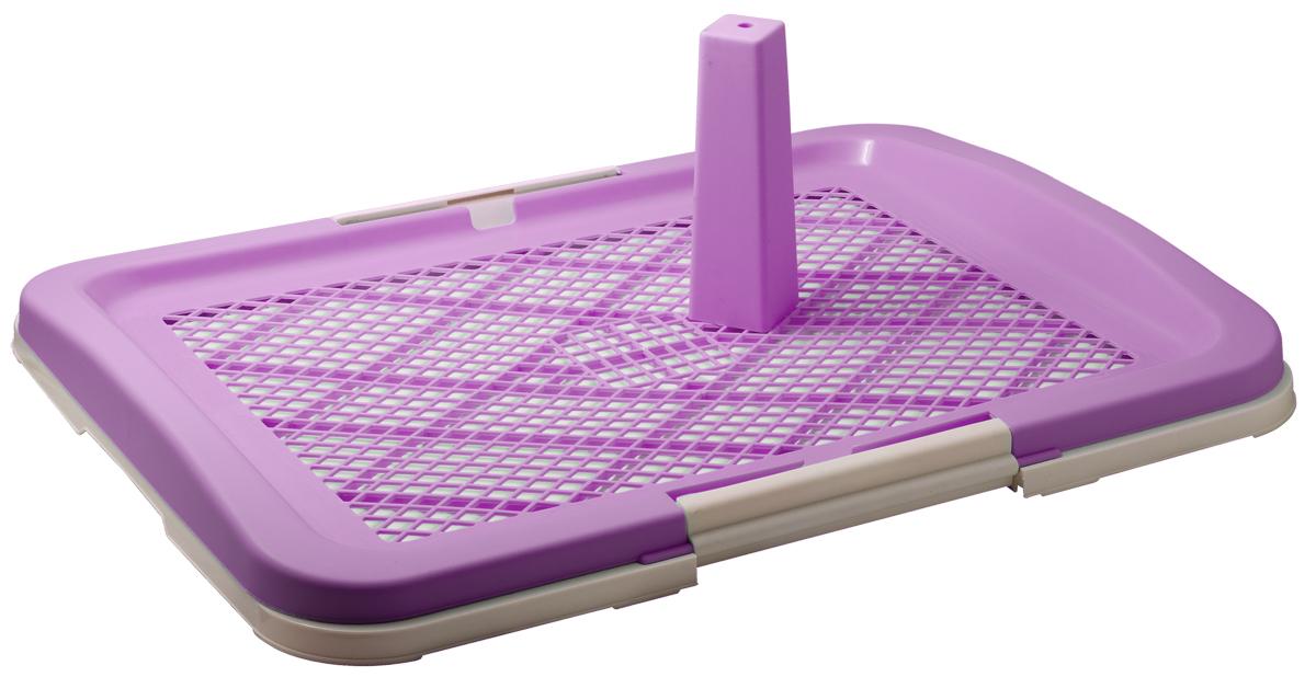 Туалет для собак V.I.Pet Японский стиль, со столбиком, цвет: фиолетовый, молочный, 63 х 49 х 6 см0120710Туалет V.I.Pet предназначен для собак и щенков. Выполнен из нетоксичного пластика. Съемный столбик легко крепится на решетку и позволяет применять туалет независимо от пола собаки. Гигиеническая пеленка (не входит в комплект) помещается под решетку, удерживаемую боковыми фиксаторами. Решетка защищает пеленку от погрызов. Туалет легко моется водой.