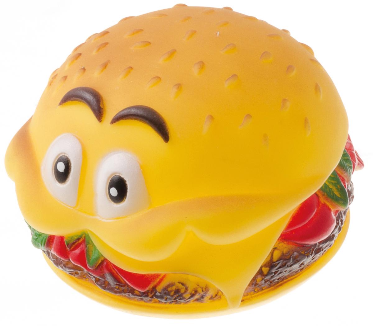 Игрушка для собак V.I.Pet Гамбургер с глазами, цвет: оранжевый, красный, зеленый, 8 х 6 см. V-3020120710Игрушка изготовлена из натурального винила с использованием только безопасных, нетоксичных красителей. Великолепно подходит для игры и массажа десен вашей собаки. Игрушка не позволит скучать вашему питомцу и дома, и на улице. Материал: винил. Размер: 8 x 6 см.