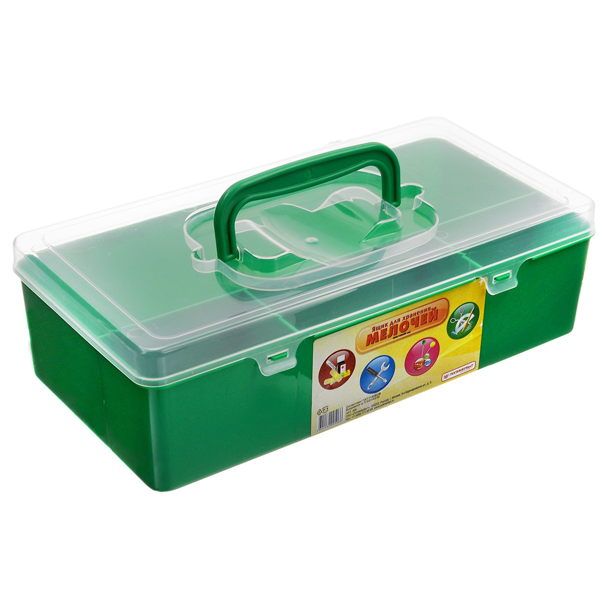 Ящик для мелочей Полимербыт, цвет: зеленый, прозрачный, 28,4 см х 14,4 см х 8,5 смCLP446Ящик Полимербыт, выполненный из прочного пластика, предназначен для хранения различных мелких вещей. Внутри имеются 4 отделения различных размеров: большое, среднее и два маленьких. Ящик закрывается при помощи прозрачной крышки, на которой расположена удобная ручка для переноски. Ящик Полимербыт поможет хранить все в одном месте, а также защитит вещи от пыли, грязи и влаги.Размеры отделений:Размер большого отделения: 28,4 см х 9 см х 8,5 см; Размер среднего отделения: 11,3 см х 4,7 см х 8,5 см; Размер малого отделения: 8 см х 4,7 см х 8,5 см.