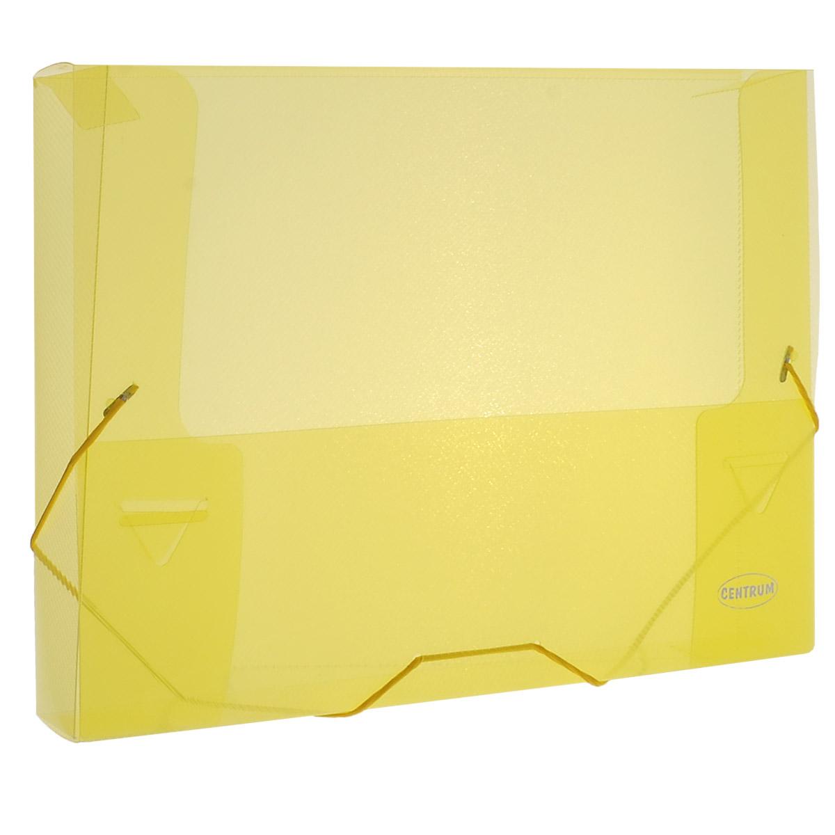 Папка на резинке Centrum, цвет: желтый, формат А4. 8002080020_желтыйПапка на резинке Centrum станет вашим верным помощником дома и в офисе. Это удобный и функциональный инструмент, предназначенный для хранения и транспортировки больших объемов рабочих бумаг и документов формата А4.Папка изготовлена из износостойкого высококачественного пластика. Состоит из одного вместительного отделения. Грани папки закруглены для дополнительной прочности и сохранности опрятного вида папки.Папка - это незаменимый атрибут для любого студента, школьника или офисного работника. Такая папка надежно сохранит ваши бумаги и сбережет их от повреждений, пыли и влаги.