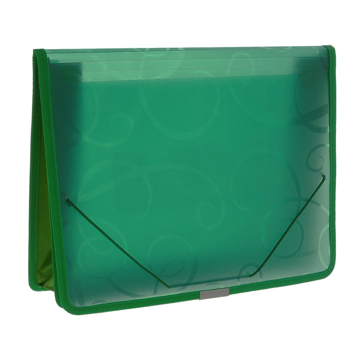 Папка на резинке Centrum, цвет: зеленый, формат А4. 8080231012Папка на резинке Centrum станет вашим верным помощником дома и в офисе. Это удобный и функциональный инструмент, предназначенный для хранения и транспортировки больших объемов рабочих бумаг и документов формата А4.Папка изготовлена из износостойкого высококачественного пластика. Состоит из одного вместительного отделения и дополнена 2 накладными кармашками. Грани папки отделаны полиэстером и металлическим лейблом для дополнительной прочности и сохранности опрятного вида папки.Папка - это незаменимый атрибут для любого студента, школьника или офисного работника. Такая папка надежно сохранит ваши бумаги и сбережет их от повреждений, пыли и влаги.