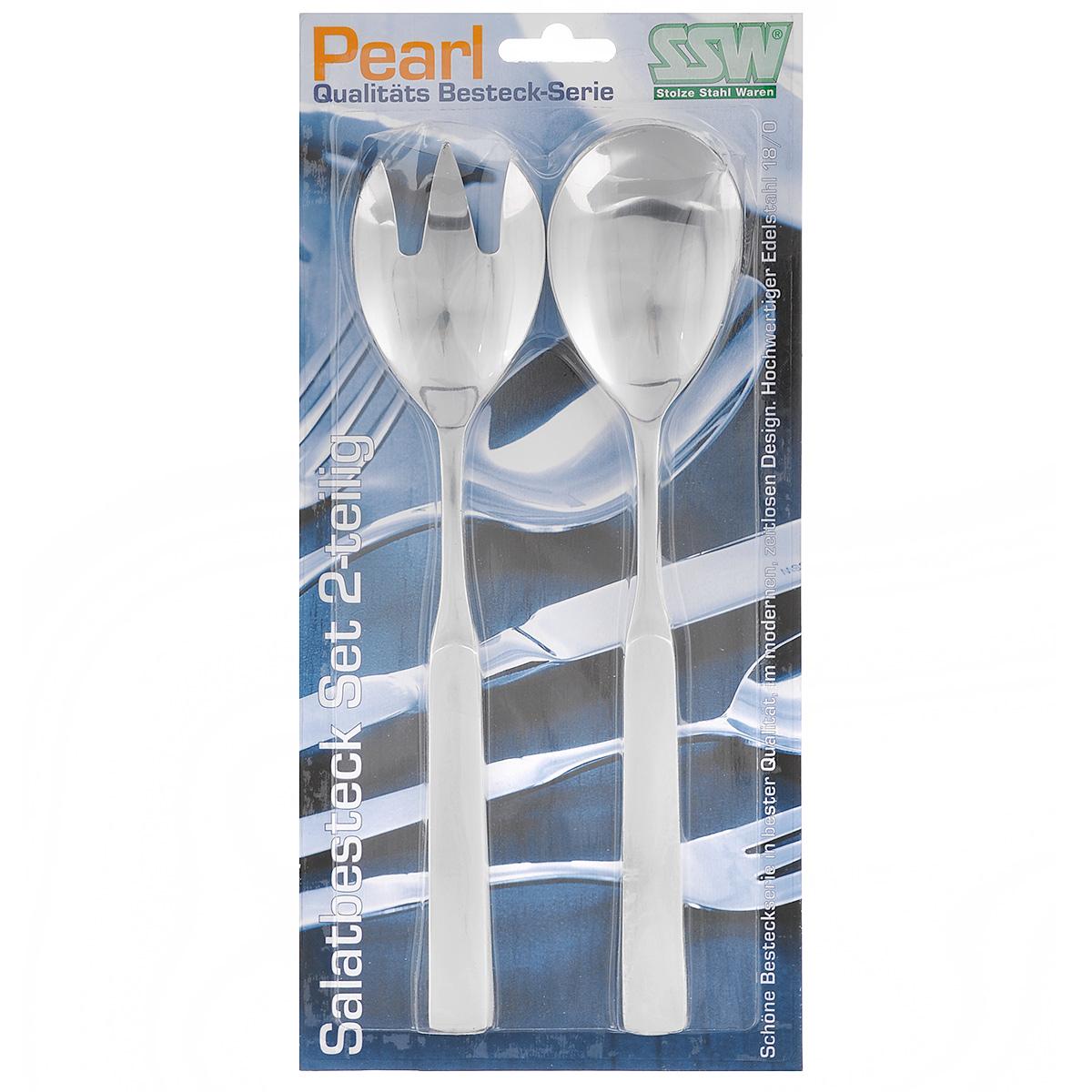 Набор ложек для салата SSW Pearl, 2 предмета54 009312Набор ложек для салата SSW Pearl выполнен из нержавеющей стали. Таким набором удобно перемешивать и выкладывать на тарелки зеленые салаты, в которых много нежных листьев и трав. Если перемешивать их простой ложкой - легко помять зелень. Пользуясь же этим набором для смешивания, или как щипцами, чтобы положить салат на тарелку, вы никогда не изомнете салатные листья.Изделия можно мыть в посудомоечной машине.Длина предметов: 23,5 см.Длина рабочей части: 7 см.