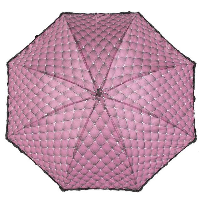 Зонт-трость Eleganzza, механический, женский, цвет: розовый, черный. Т-06-0440REM12-CAM-GREENBLACKСтильный зонт-трость Eleganzza с необычным дизайном произведен из высококачественных материалов. Каркас зонта изготовлен из восьми спиц из фибергласса, деревянного стержня и фигурной ручки из акрила в форме крюка.Купол зонтика выполнен из полиэстера с водоотталкивающей пропиткой и оформлен черной оборкой по краю. Закрытый купол фиксируется хлястиком на кнопке. Зонт механического сложения: купол открывается и закрывается вручную до характерного щелчка. Женский зонт Eleganzza не только выручит вас в ненастную погоду, но и станет ярким аксессуаром, который прекрасно дополнит ваш модный образ.