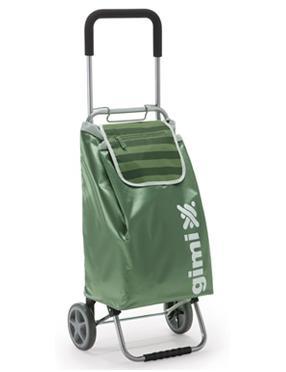 Сумка-тележка Flexi зеленаяES-412Сумка-тележка GimiFlexi предназначена для перевозки различных вещей. Сумка выполнена их влагоустойчивого полиэстера зеленого цвета. Тележка выполнена из металла с матовым покрытием серебристо-серого цвета и оснащена удобной ручкой soft touch. Сумка имеет одно вместительное отделение, которое закрывается кулиской и клапаном. На обратной стороне сумки и на клапане расположены карманы на застежке-молнии а также крепление с помощью которого сумку-тележку пожно повесить на телегу в магазине. В рабочем положении сумка стоит при помощи специальной подставки. Колеса тележки выполнены из пластика и резины, что обеспечивает мягкий ход. Сумка-тележка компактно собирается и не занимает много места. Максимально-допустимый вес -30кг., объем сумки-45литров. Окрашенная сталь, водоустойчивый мешок из полиестера, ручка soft touch,колеса -пластик,резина.