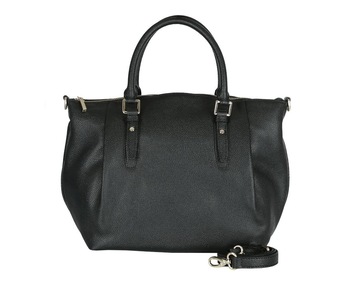 Сумка женская Fabretti, цвет: черный. S1347S76245Стильная женская сумка Fabretti изготовлена из натуральной кожи и оформленафактурным тиснением. Сумка оснащена двумя удобными ручками и съемнымплечевым ремнем регулируемой длины. Изделие закрывается на застежку-молнию. Внутреннее отделение разделено средником на застежке-молнии и содержит 2накладных кармана для мобильного телефона и мелочей и 2 кармана назастежках-молниях. На тыльной стороне расположен врезной плоский карман без застежки. Размерывмещают формат А4.Фурнитура золотого цвета. Дно защищено от повреждений металлическиминожками. Изделие упаковано в фирменный чехол. Выглядеть стильно и оригинально с аксессуарами от Fabretti совсем несложно,так как продукция этого бренда сочетает в себе не только удобство, но исовременный дизайн.