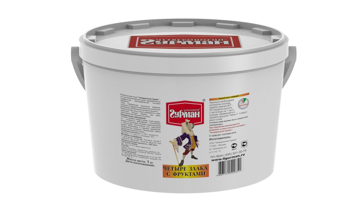 Хлопья моментального приготовления для собак Четвероногий гурман 4 злака, с фруктами, 1 кг0120710Мультизерновые хлопья моментального приготовления Четвероногий гурман произведены из высококачественной крупы с добавлением яблок и абрикосов. В процессе производства сырье подвергается кратковременному воздействию высокой температуры и давления, благодаря этому сохраняется максимум полезных свойств и питательной ценности продукта. Крупы - необходимый элемент полноценного рациона собаки. Моментальные хлопья лучше усваиваются и дают собаке больше энергии, чем крупа, сваренная обычным способом. Для приготовления хлопья необходимо залить горячей (не кипящей) водой и подождать, пока блюдо остынет до комнатной температуры. Полезные свойства хлопьев 4 злака: - Снижают уровень сахара в крови и риск сердечно-сосудистых заболеваний. - Способствуют выводу из организма токсинов, радионуклидов и пестицидов. - Используются для укрепления иммунитета, профилактики ожирения. - Нормализуют работу желудочно-кишечного тракта. - Хлопья богаты белками, углеводами, калием, фосфором, цинком и витаминами группы B.Состав: смесь овсяных, пшеничных, ржаных, ячменных хлопьев, сушеные яблоки, курага. Пищевая ценность (в 100 г продукта): протеин 11 г, жир 3 г, углеводы 63 г. Витамины и минералы: А 22,6 мкг, В1 0,6 мкг, B4 75,2 мкг, E 2,4 мкг, P 332 мг, K 360 мг, Mg 110 мг, Ca 65 мг, Fe 4 мг. Энергетическая ценность: 326 ккал.Товар сертифицирован.