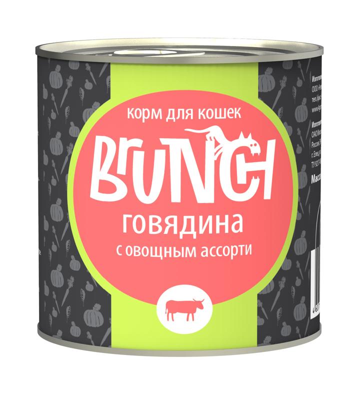 Консервы для кошек Brunch, говядина с овощным ассорти, 240 г белковая добавка для животных г иркутск
