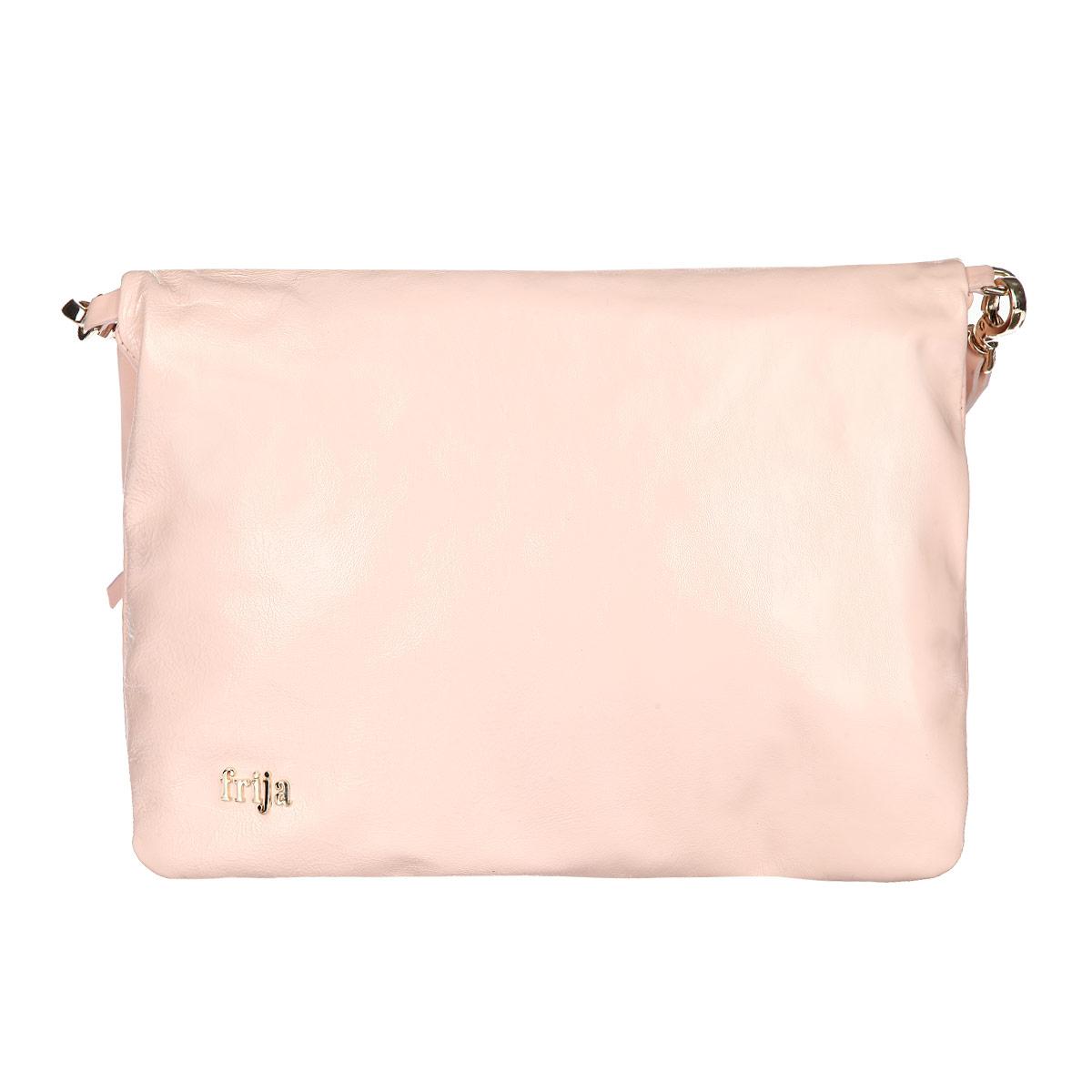 Сумка женская Frija, цвет: розовый. 21-0311-15L39845800Стильная женская сумка Frija выполнена из натуральной кожи, оформлена металлическим элементом с названием бренда.Изделие содержит одно главное отделение, закрывающееся на застежку-молнию, внутри которого расположен вшитый карман на молнии. Сумка дополнена практичной съемной лямкой, которая позволит носить ее как в руках, так и на плече.Такая сумка прекрасно дополнит ваш образ.