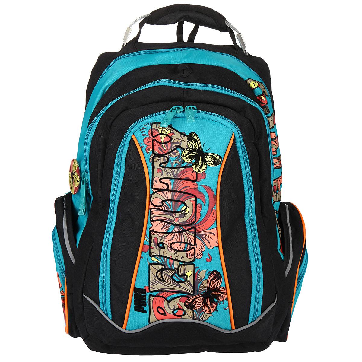 Рюкзак школьный Steiner BEAUTY, цвет: черный, бирюзовый. 12-252-15335055Эргономичный школьный рюкзак с ортопедической спинкой Steiner BEAUTY выполнен из современного пористого материала, отличающегося легкостью, долговечностью и повышенной влагостойкостью. Изделие оформлено изображениембабочек, цветов и логотипа бренда на лицевой стороне.Рюкзак имеет два основных отделения, которые закрываются на молнии. Внутри главного отделения расположены: два накладных кармана-разделителя на липучках, накладной мягкий карман для планшета или ноутбука на резинке с липучкой. Внутри второго отделения размещен органайзер для письменных принадлежностей, состоящий из пяти накладных карманов, один из которых карман-сетка на молнии. По бокам рюкзака размещены четыре дополнительных накладных кармана, два из которых застегиваются на молнии. В спинку рюкзака встроены два накладных кармана на молниях, внутри верхнего кармана находится кармашек для телефона на липучке.Рельеф спинки рюкзака разработан с учетом особенности детского позвоночника.Рюкзак оснащен эргономичной ручкой для переноски, двумя широкими лямками, регулируемой длины, петлей для подвешивания.Многофункциональный школьный рюкзак Steiner BEAUTY станет незаменимым спутником вашего ребенка в походах за знаниями.