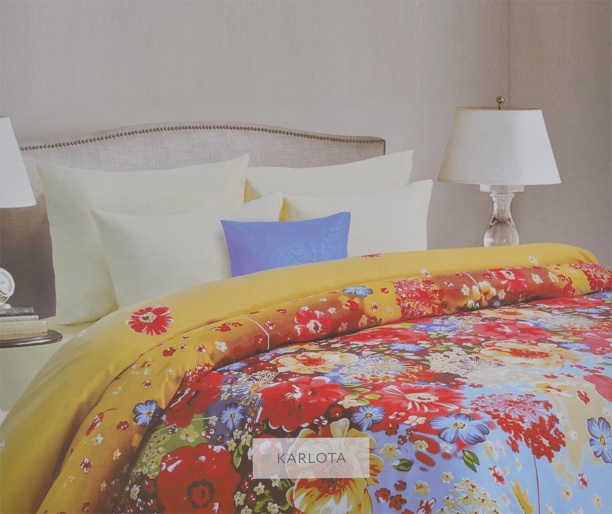Комплект белья Mona Liza Karlota, семейный, наволочки 70х70. 562405/568044Комплект белья Mona Liza Karlota, выполненный из батиста (100% хлопок), состоит из простыни, двух пододеяльников и двух наволочек. Изделия оформлены ярким цветочным принтом. Батист - тонкая, легкая натуральная ткань полотняного переплетения. Батист, несомненно, является одной из самых аристократичных и совершенных тканей. Он отличается нежностью, трепетной утонченностью и изысканностью. Ткань с незначительной сминаемостью, хорошо сохраняющая цвет при стирке, легкая, с прекрасными гигиеническими показателями. Рекомендации по уходу: - Ручная и машинная стирка 40°С, - Гладить при температуре не более 150°С, - Не использовать хлорсодержащие средства, - Щадящая сушка, - Не подвергать химчистке.